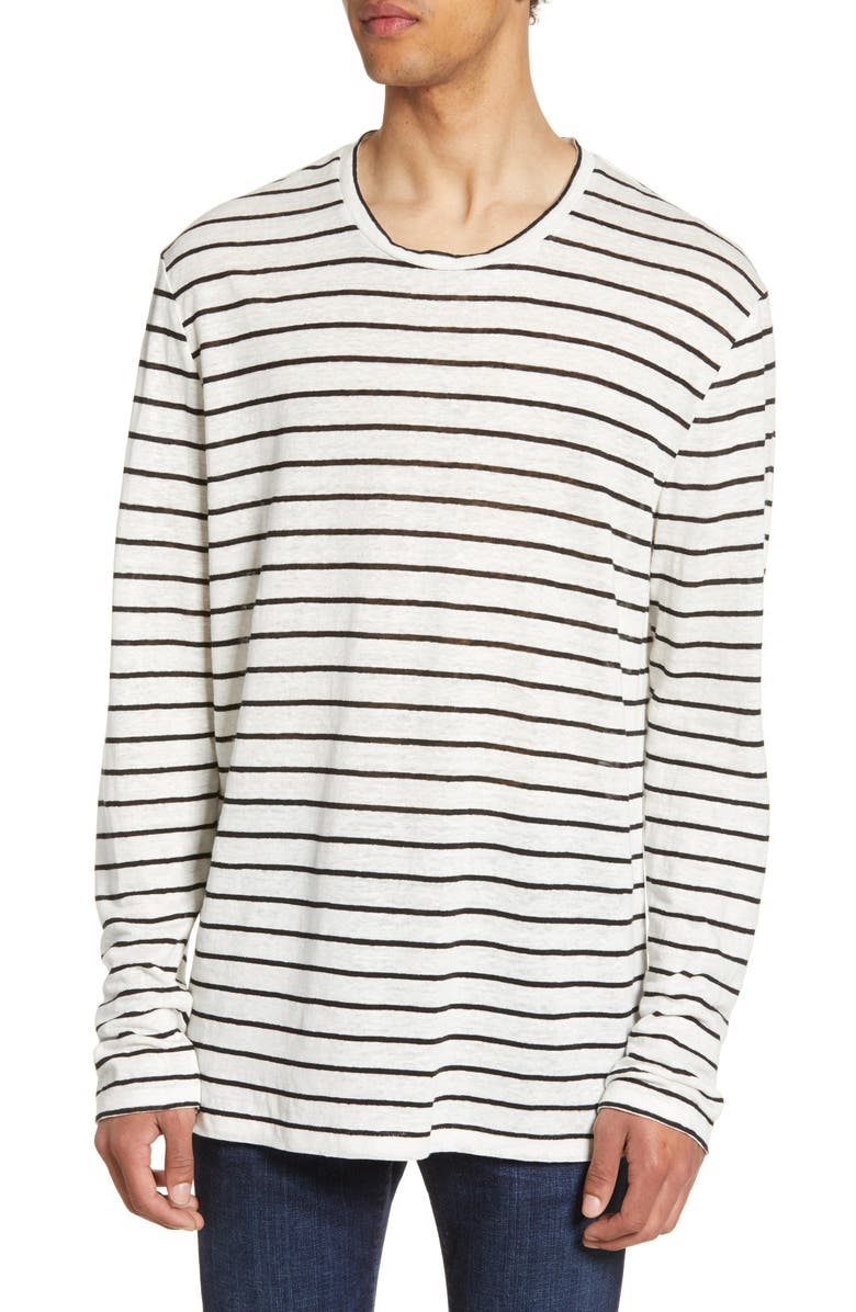 ALLSAINTS Ludo Stripe Long Sleeve Slim Fit Linen T-Shirt, Main, color, WHITE/ BLACK