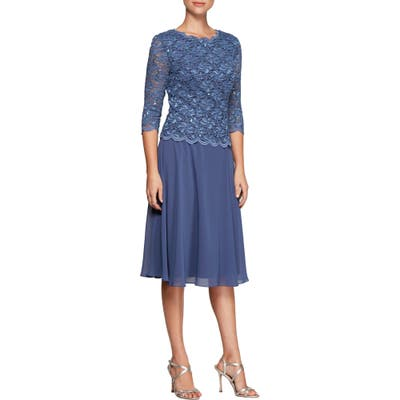 Petite Alex Evenings Mock Two-Piece Tea Length Dress, Blue