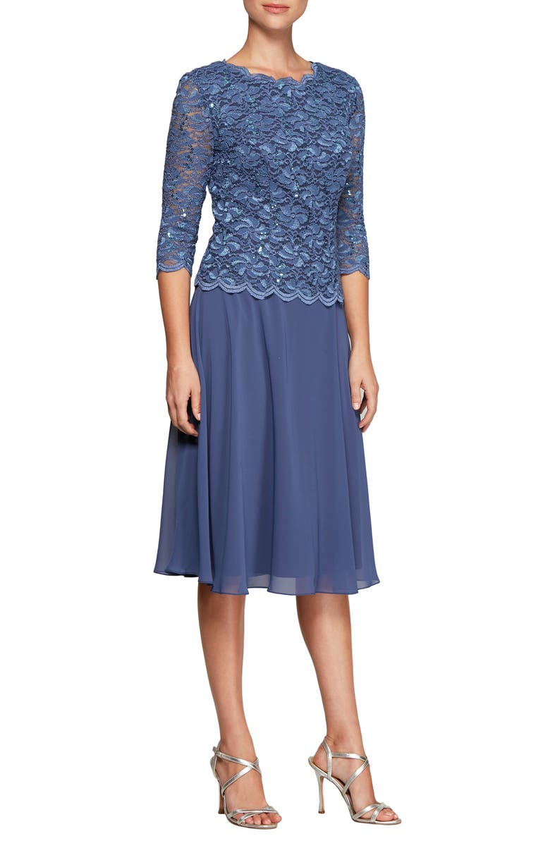 ALEX EVENINGS Mock Two-Piece Tea Length Dress, Main, color, WEDGEWOOD