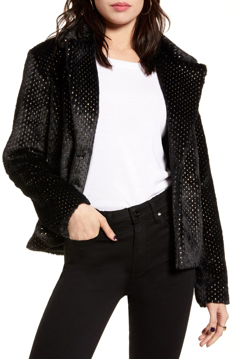 MINKPINK Feel This Way Forever Jacket, Main, color, BLACK/ GOLD