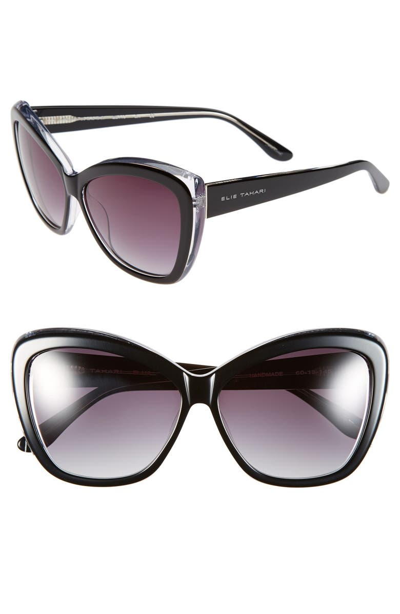 ELIE TAHARI 60mm Cat Eye Sunglasses, Main, color, 001