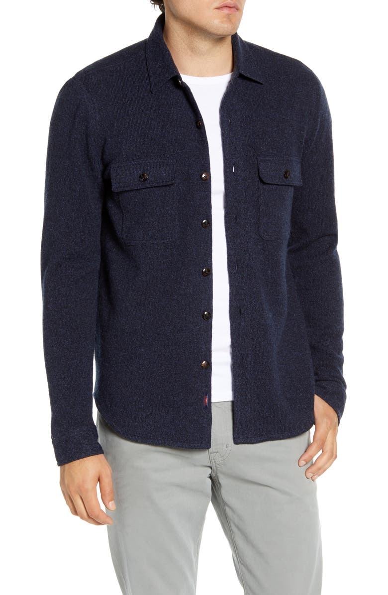 FAHERTY Regular Fit Button-Up Wool Sweater Shirt Jacket, Main, color, DEEP NAVY MARL