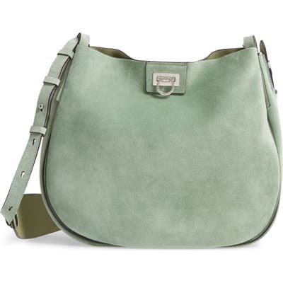 Salvatore Ferragamo Medium Suede Hobo - Green
