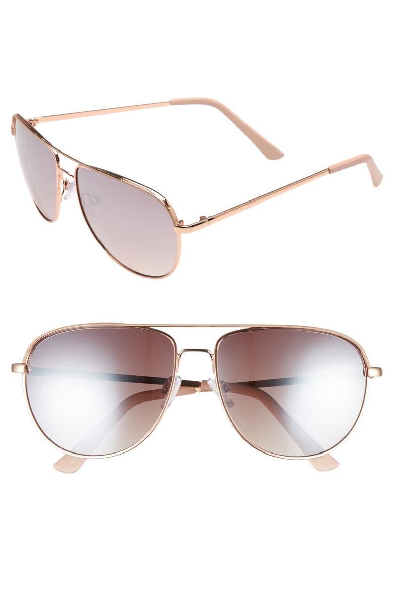 BP. 60mm Metal Aviator Sunglasses, Main, color, 250