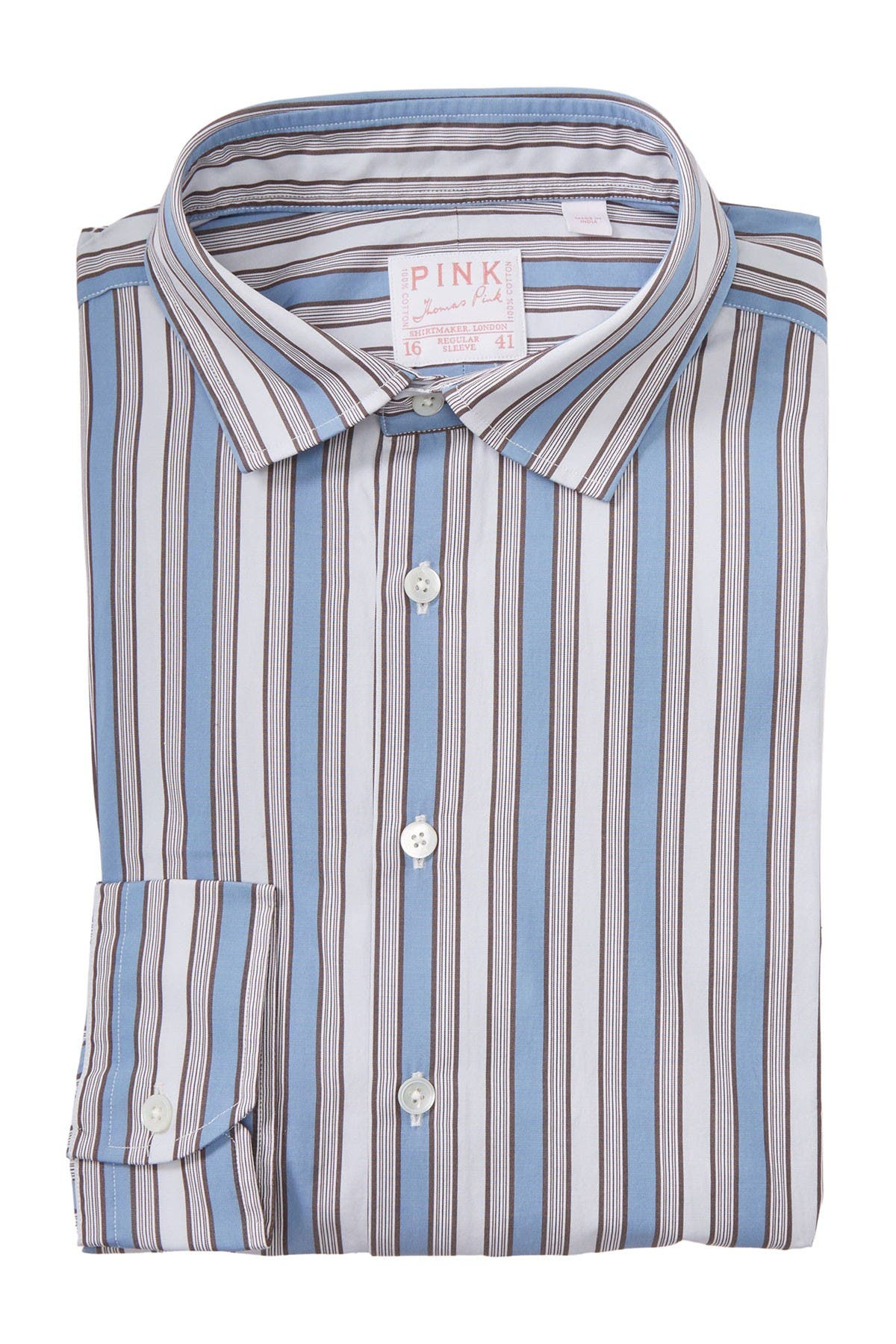Image of THOMAS PINK Portland Vintage Stripe Print Dress Shirt