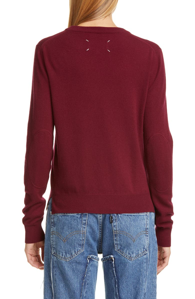 MAISON MARGIELA Elbow Patch Wool Sweater, Main, color, BORDEAUX