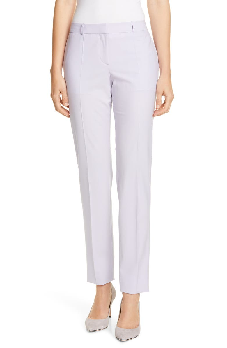 BOSS Tilunana Stretch Wool Trousers, Main, color, AMETHYST