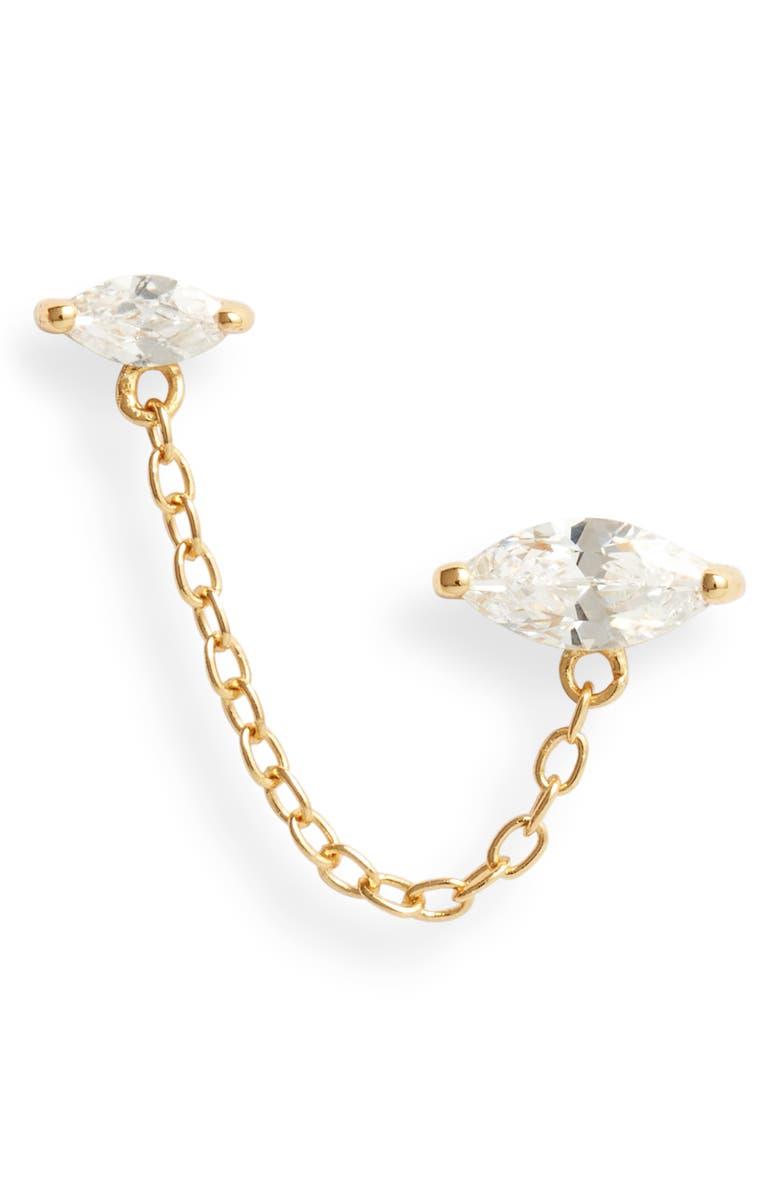ADINA'S JEWELS Adina's Jewels Marquis Chain Stud Earring, Main, color, GOLD