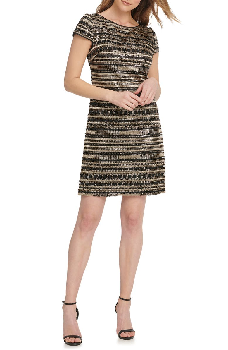 VINCE CAMUTO Beaded Cocktail Dress, Main, color, BGD