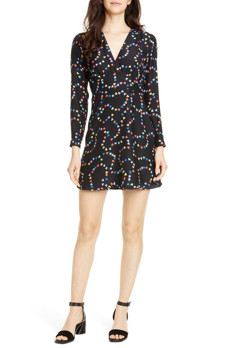 HVN Hoover Long Sleeve Silk Minidress, Main, color, RAINBOW STRING OF HEARTS