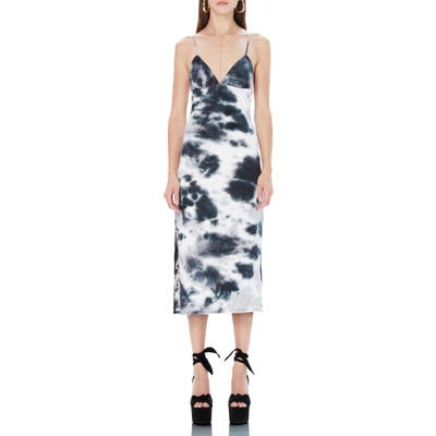 Afrm Cleo Tie Dye Rib Plunge Neck Dress, Black