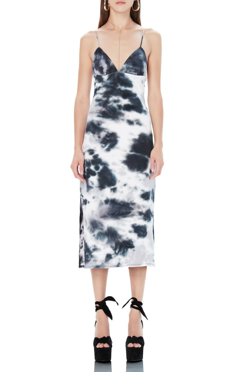 AFRM Cleo Tie Dye Rib Plunge Neck Dress, Main, color, NOIR TIE DYE