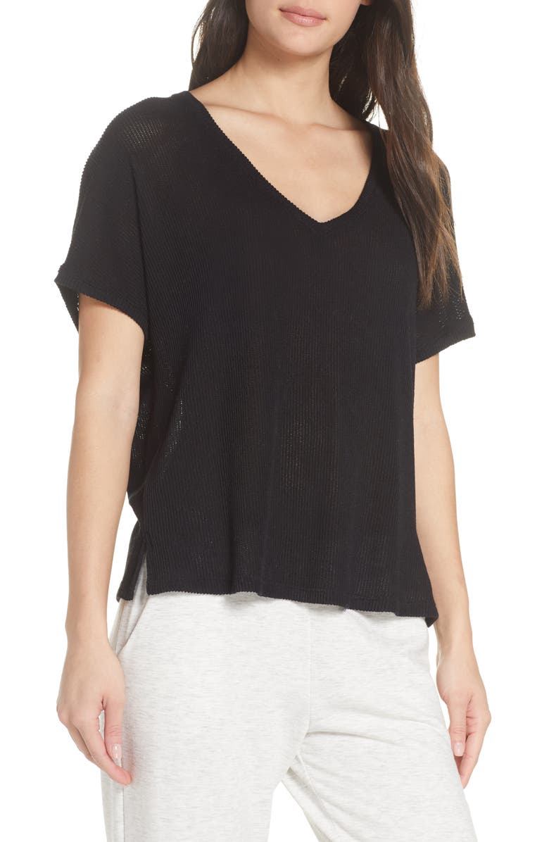 SOCIALITE Boxy V-Neck Lounge Tee, Main, color, 001