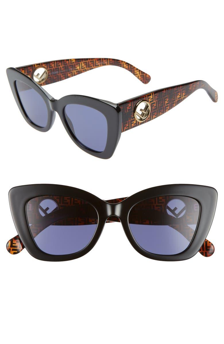 FENDI 52mm Sunglasses, Main, color, BLACK
