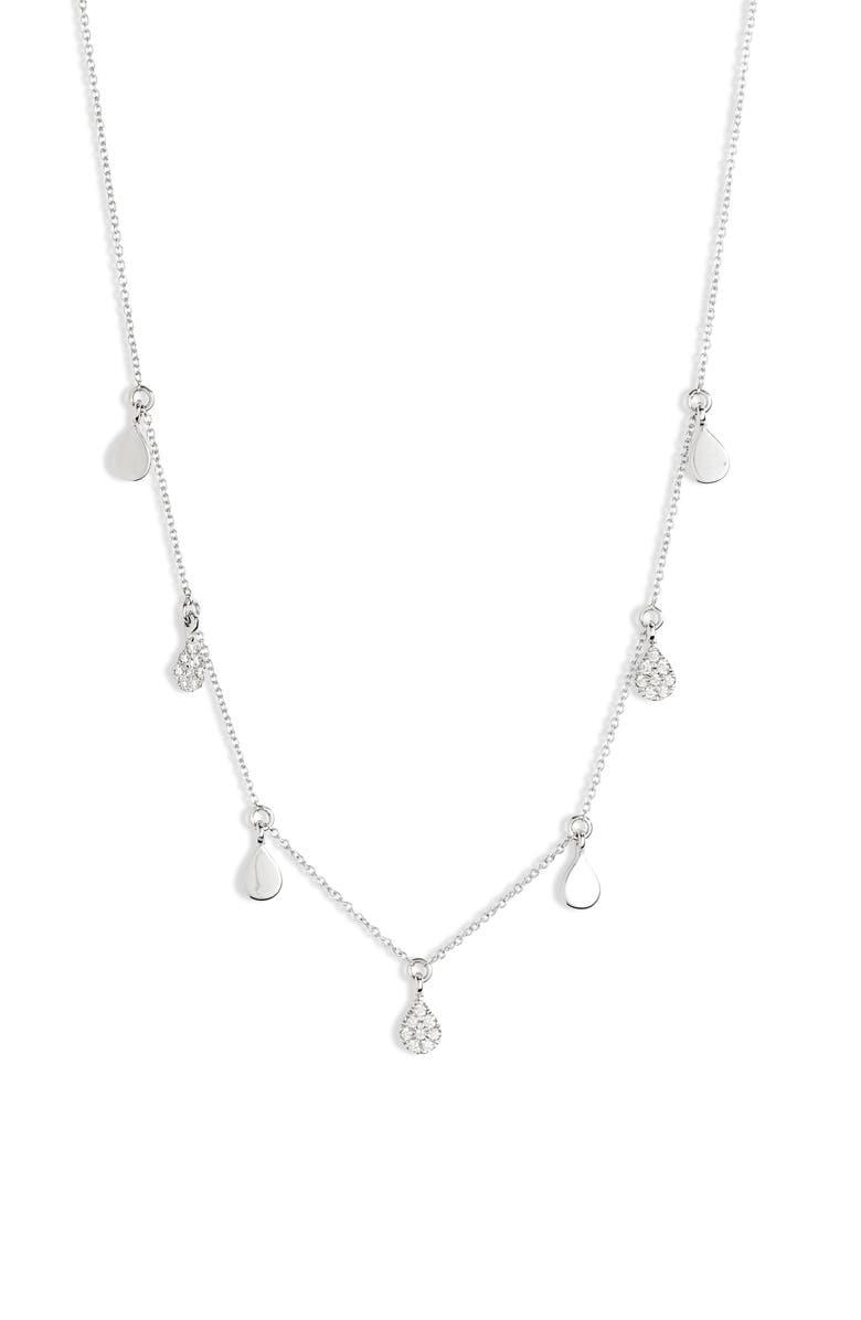 DANA REBECCA DESIGNS Diamond and Disc Dangle Necklace, Main, color, WHITE GOLD