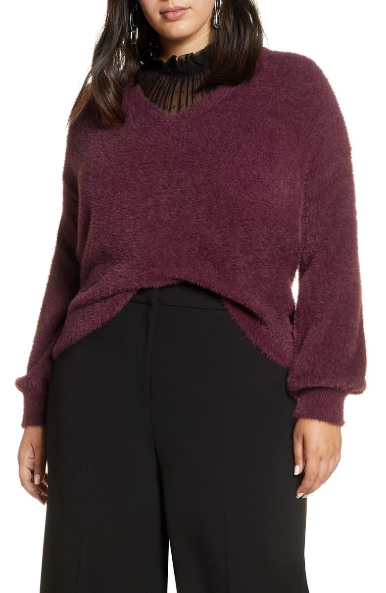 HALOGEN<SUP>®</SUP> Fuzzy V-Neck Sweater, Main, color, BURGUNDY FIG