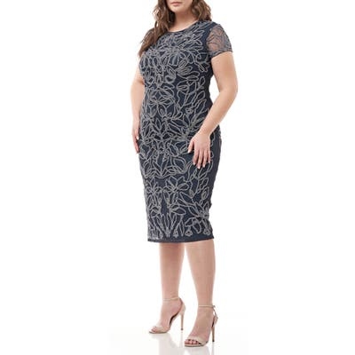 Plus Size Js Collections Metallic Soutache Mesh Cocktail Dress, Blue