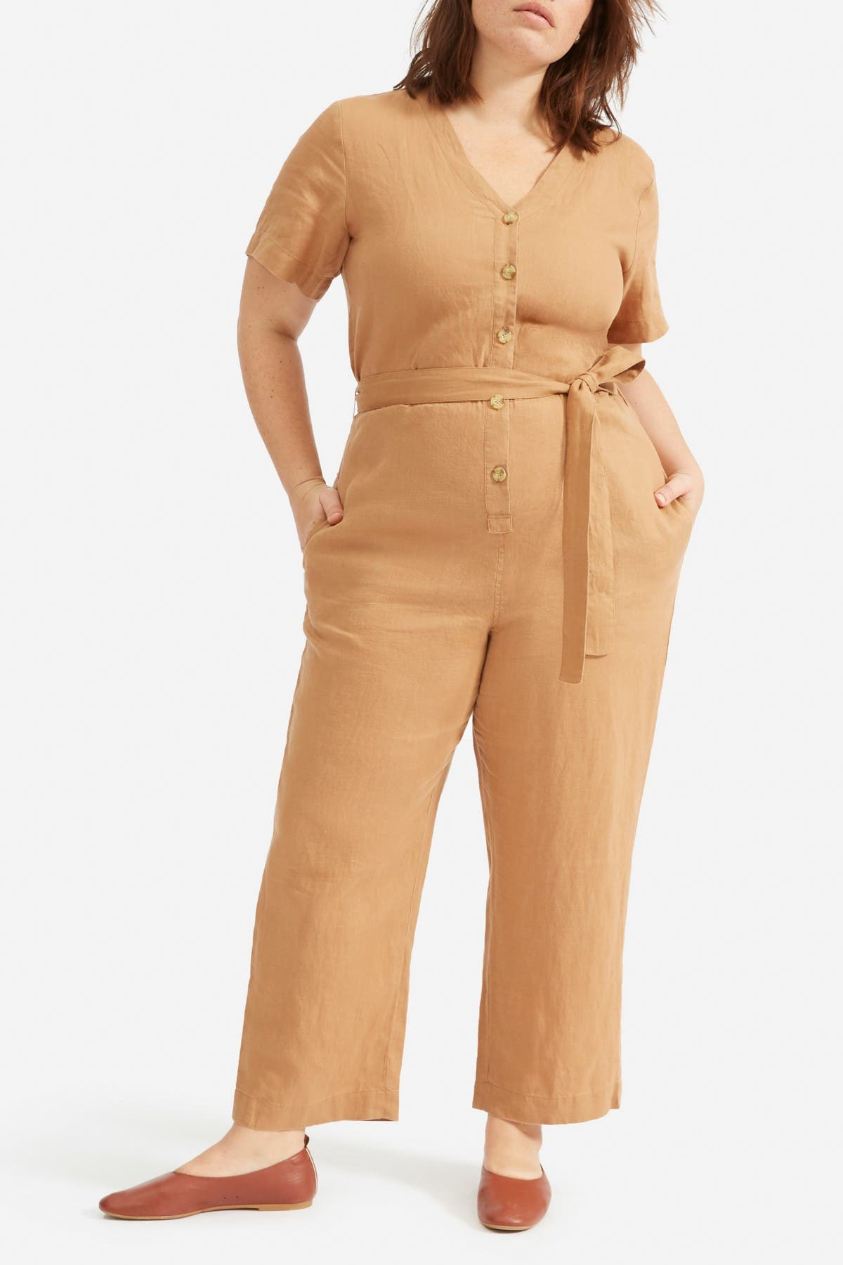 Image of EVERLANE The Linen Short Sleeve Jumpsuit