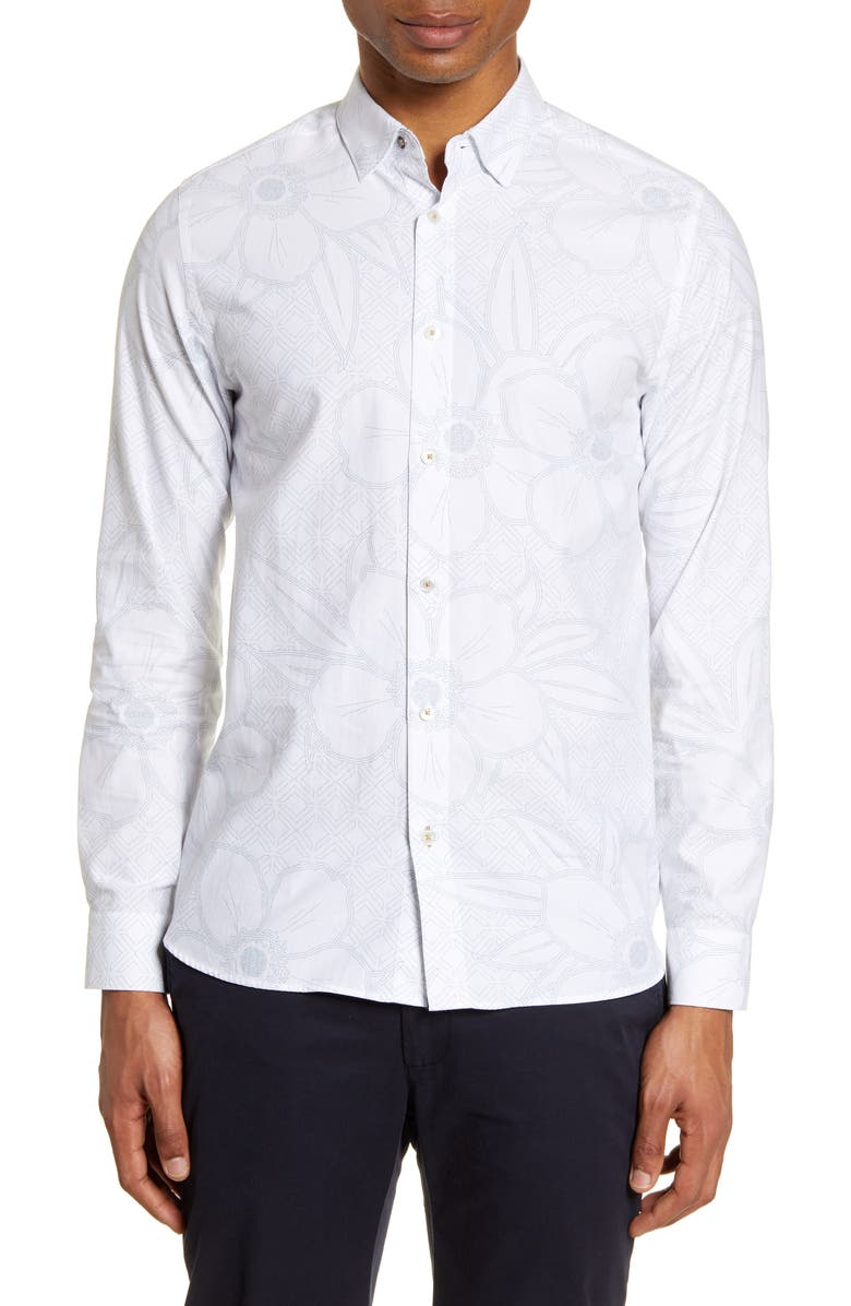 TED BAKER LONDON Gogirl Slim Fit Floral Button-Up Shirt, Main, color, 110