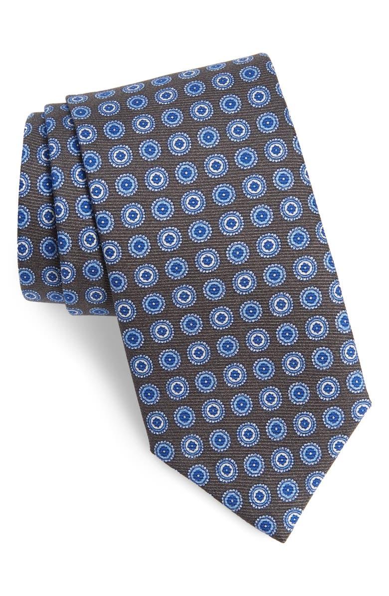 DAVID DONAHUE Medallion Silk Tie, Main, color, CHARCOAL
