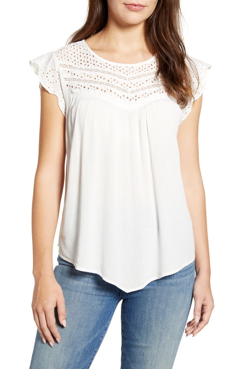 WIT & WISDOM Eyelet Yoke Gauze Cap Sleeve Top, Main, color, OFF WHITE