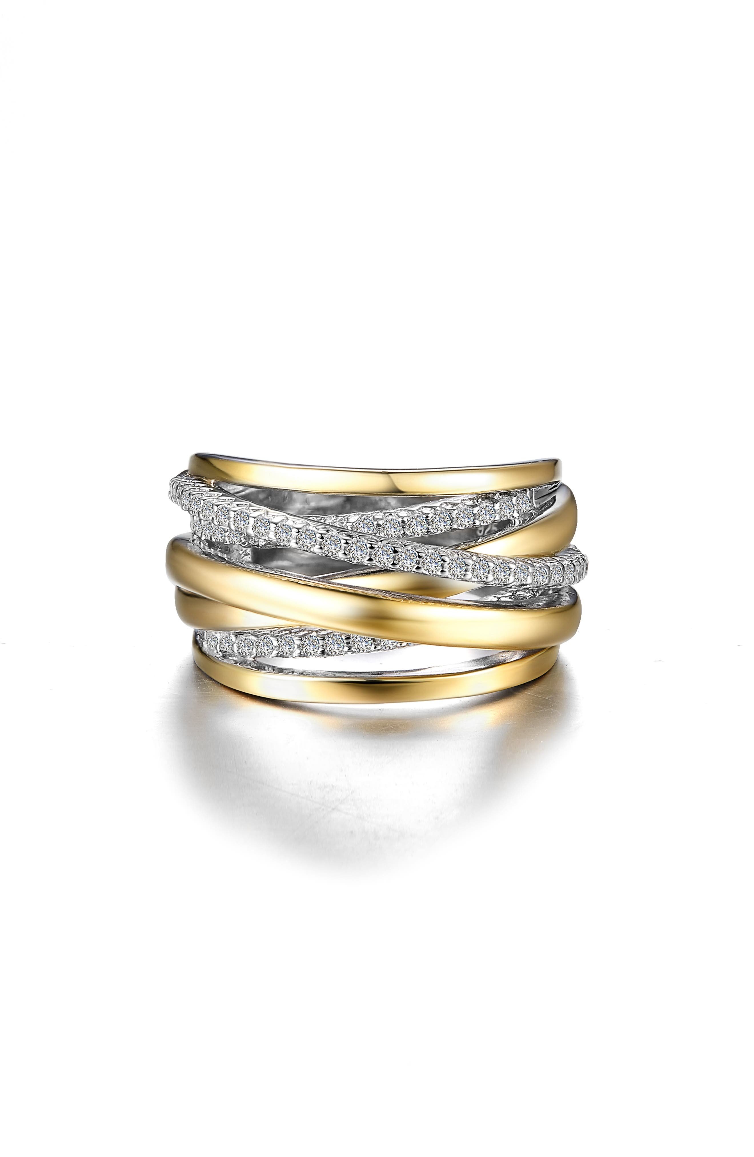 This two-tone crossover ring features 61 signature Lassaire simulated diamonds, for simple yet unparalleled glitter and gleam on your finger. Style Name: Lafonn Simulated Diamond Crossover Ring. Style Number: 5702779. Available in stores.