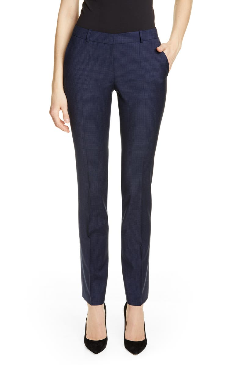 BOSS Titana Microcheck Wool Trousers, Main, color, 400