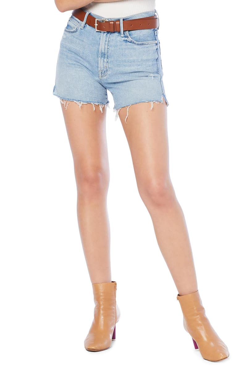MOTHER The Rascal High Waist Slit Chew Shorts, Main, color, 420