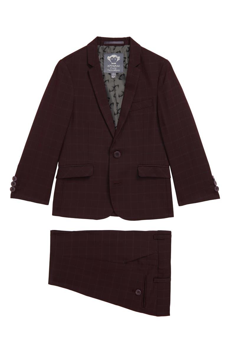 APPAMAN Mod Plaid Suit, Main, color, BURGUNDY PLAID