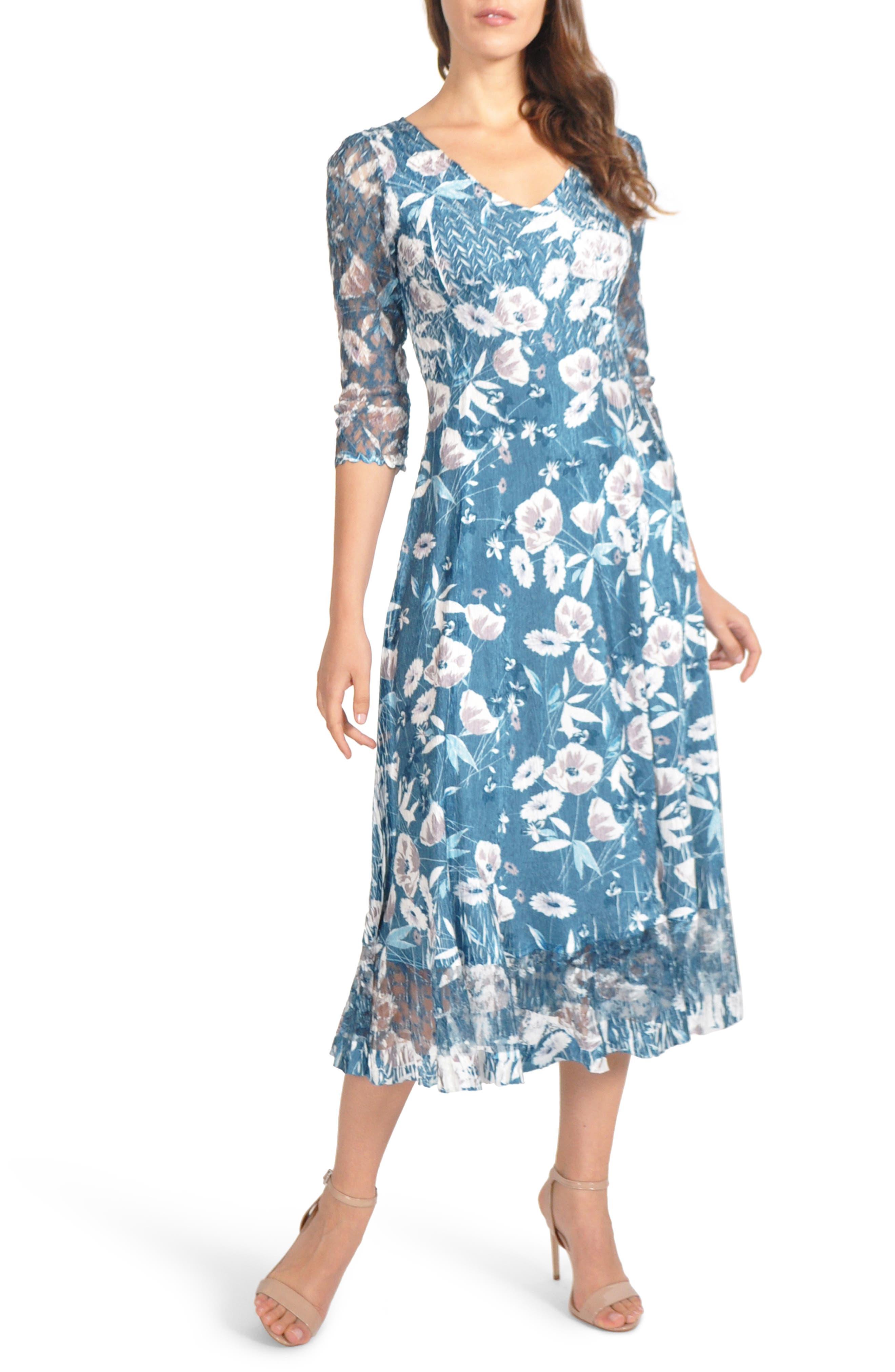 Petite Komarov Charmeuse & Chiffon Midi Dress, Blue/green