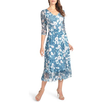 Petite Komarov Charmeuse & Chiffon Midi Dress, Blue/green
