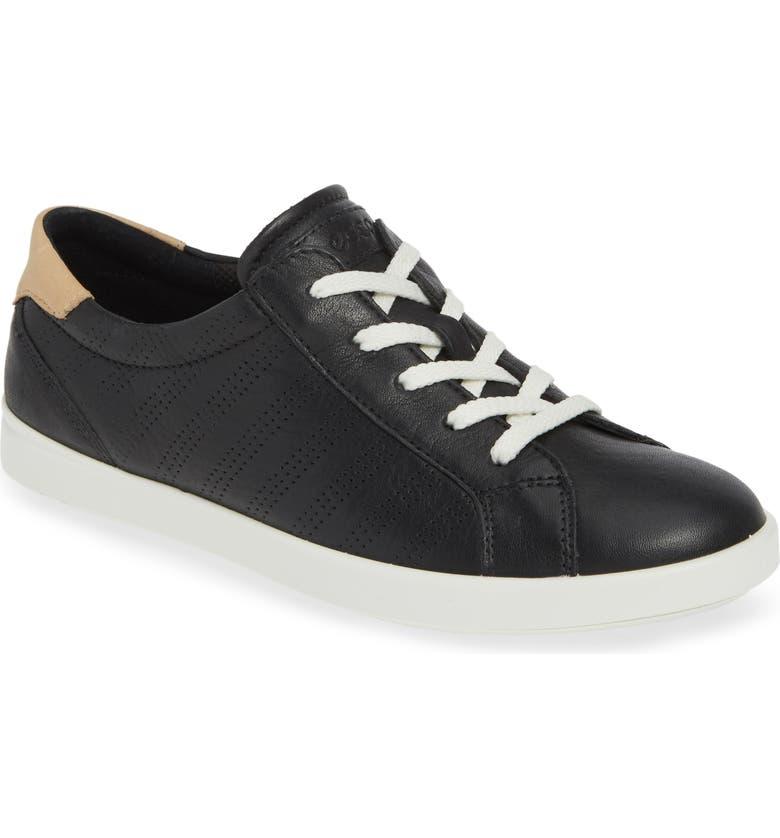 ECCO Leisure Tie Sneaker, Main, color, BLACK LEATHER