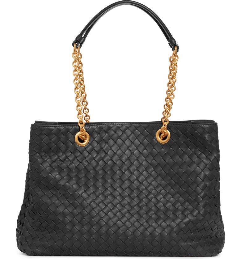 BOTTEGA VENETA Small Intrecciato Leather Hobo, Main, color, NERO