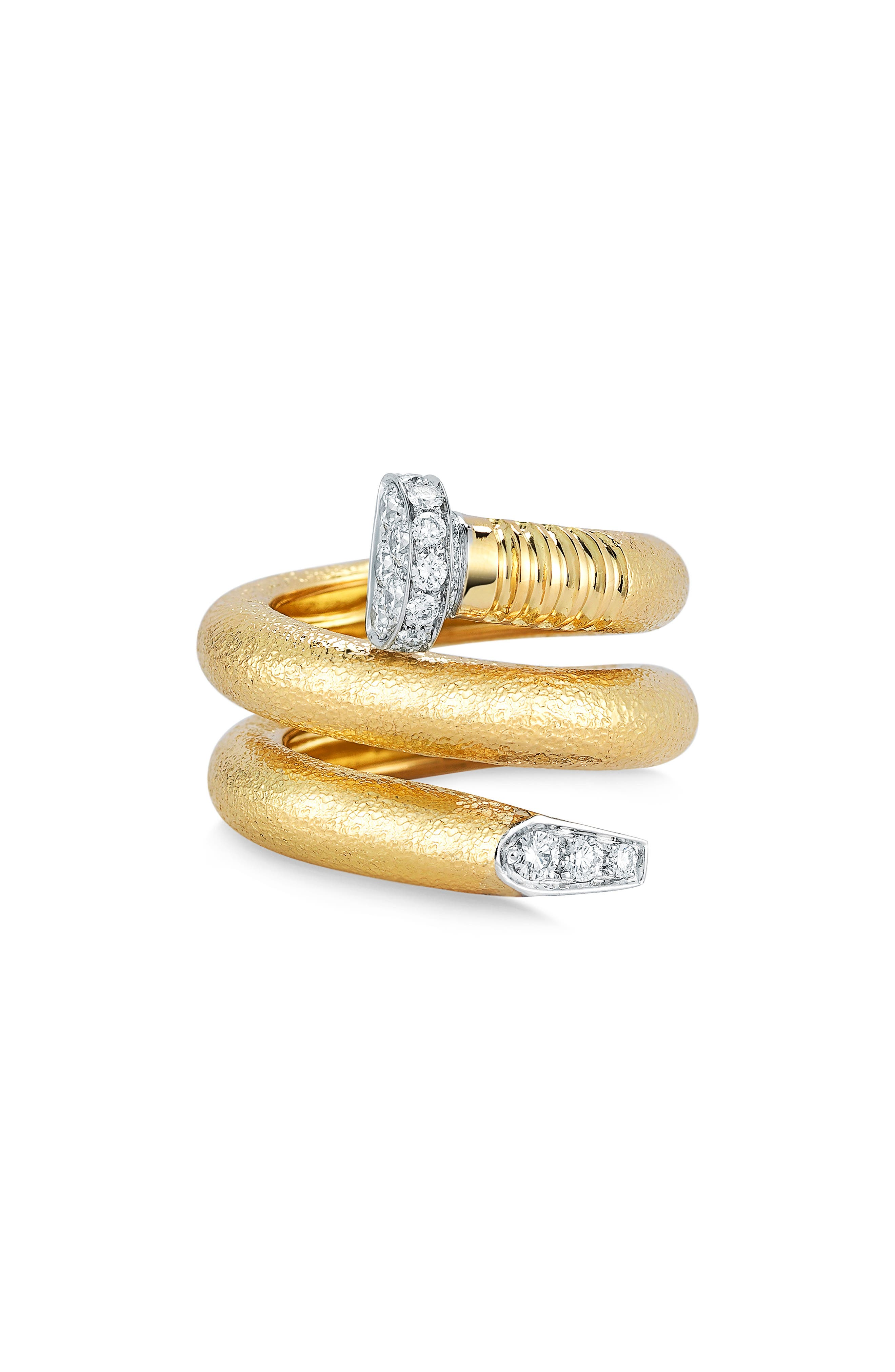 Diamond Nail Bypass Ring