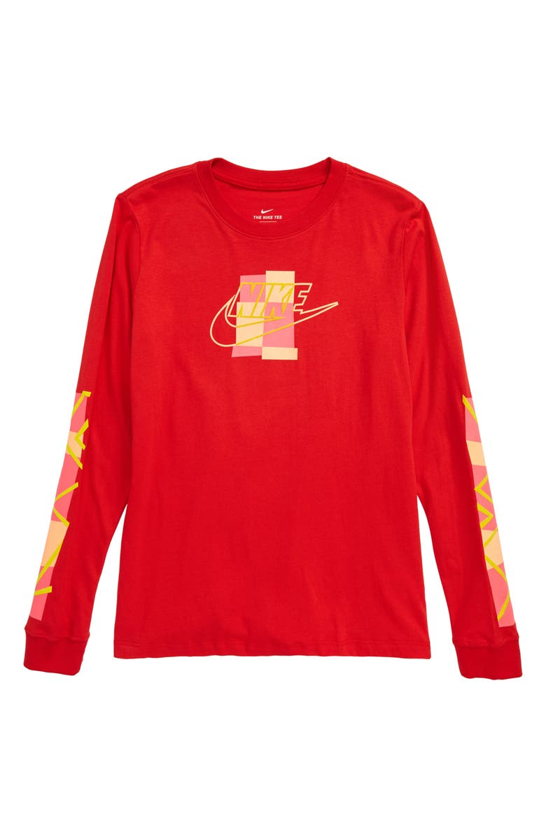 NIKE Sportswear Futura Shapes Graphic T-Shirt, Main, color, UNIVERSITY RED/ PINK BLAST