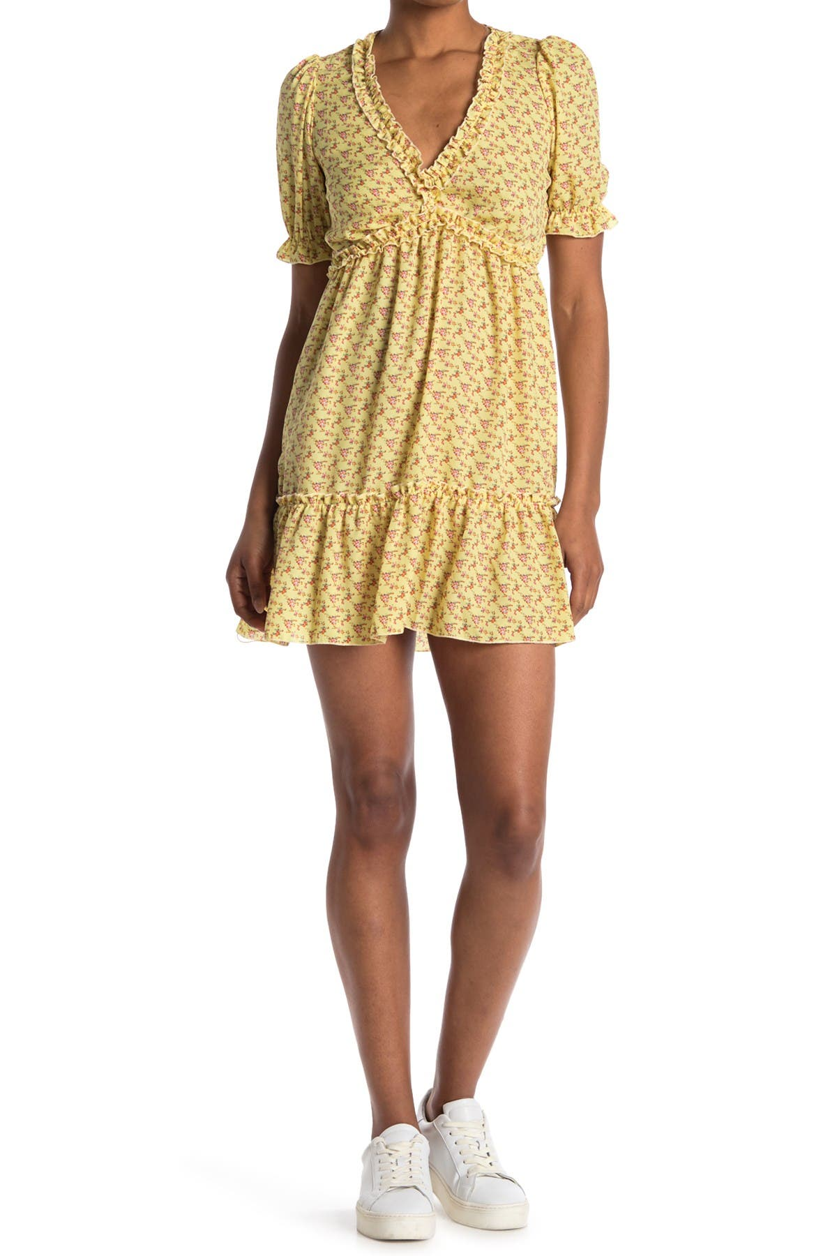 Image of KENEDIK Ruffle Trim Floral Print Babydoll Dress