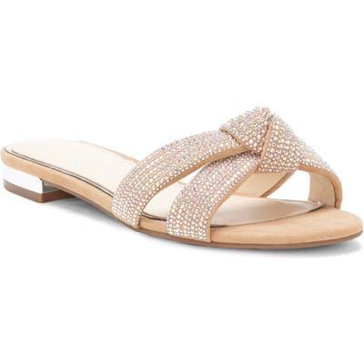 Jessica Simpson Alisen Crystal Embellished Slide Sandal- Beige