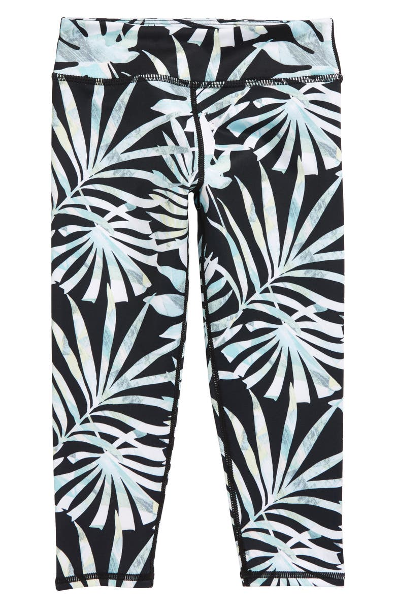 ZELLA GIRL High Waist Crop Leggings, Main, color, BLACK WATERCOLOR FROND