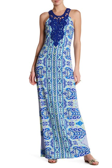 Image of Hale Bob Halter Print Embroidered Woven Maxi Dress