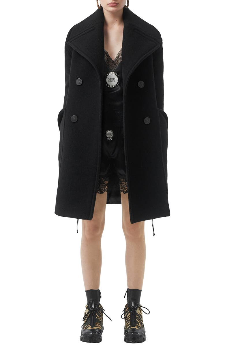 BURBERRY Oversize Notch Collar Peacoat, Main, color, BLACK