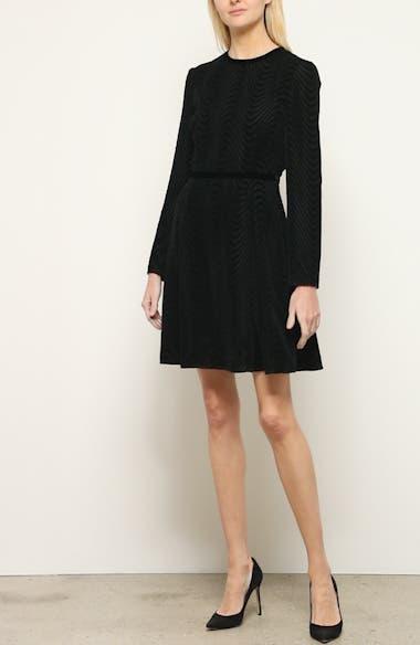 Long Sleeve Textured Velvet Dress, video thumbnail