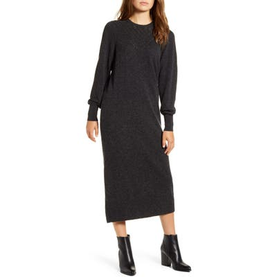 Lucky Brand Pointelle Yoke Long Sleeve Cotton Midi Sweater Dress, Grey