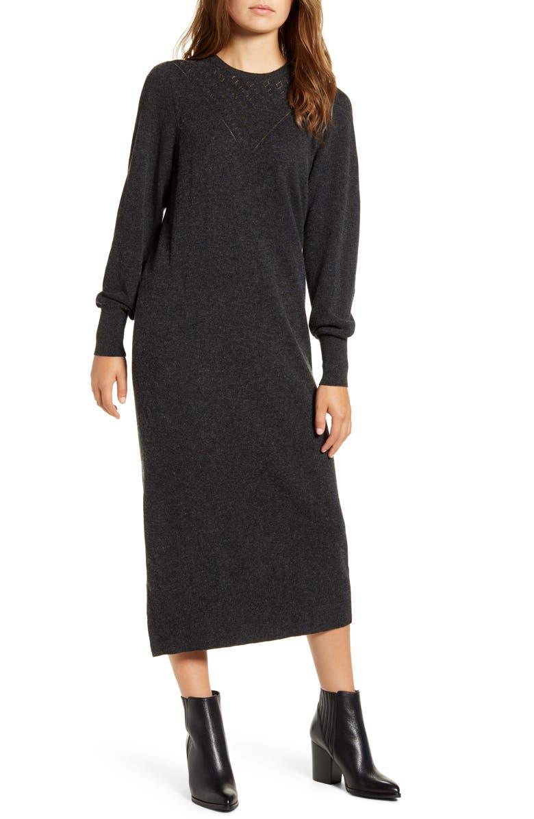 LUCKY BRAND Pointelle Yoke Long Sleeve Cotton Midi Sweater Dress, Main, color, 020