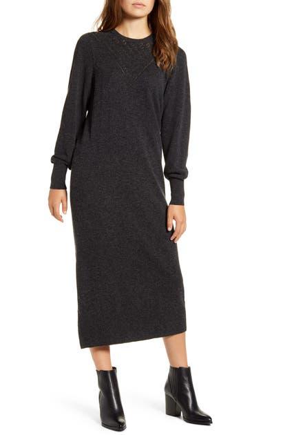 Lucky Brand Dresses POINTELLE YOKE LONG SLEEVE COTTON MIDI SWEATER DRESS