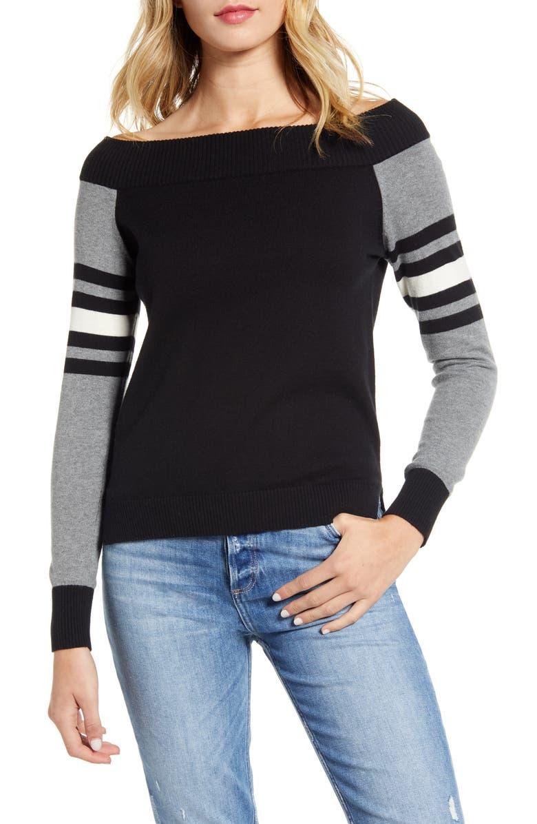 BAILEY 44 Derrah Off the Shoulder Sweater, Main, color, 001