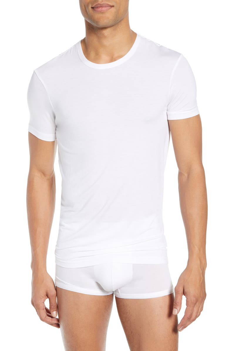 CALVIN KLEIN Ultrasoft Stretch Modal Blend Crewneck T-Shirt, Main, color, WHITE