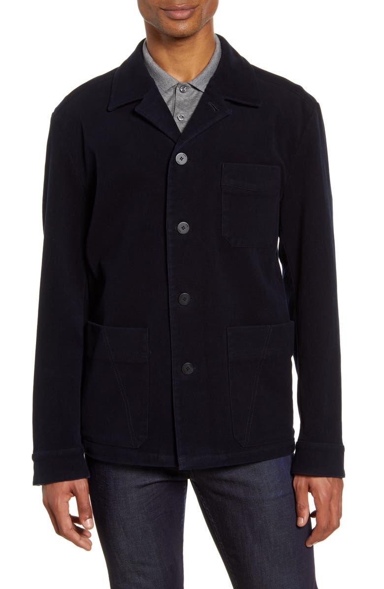 HUGO Joah Regular Fit Stretch Cotton Jacket, Main, color, DARK BLUE