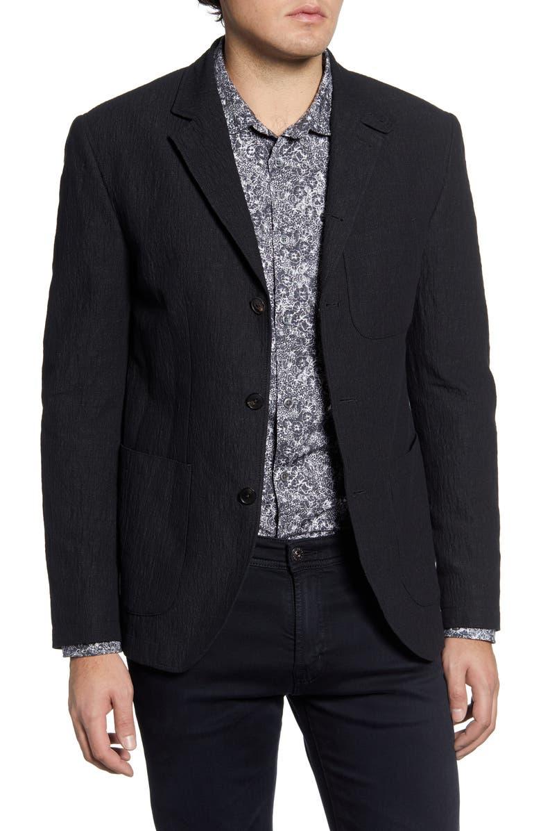 JOHN VARVATOS Slim Fit Stretch Cotton & Linen Blazer, Main, color, BLACK