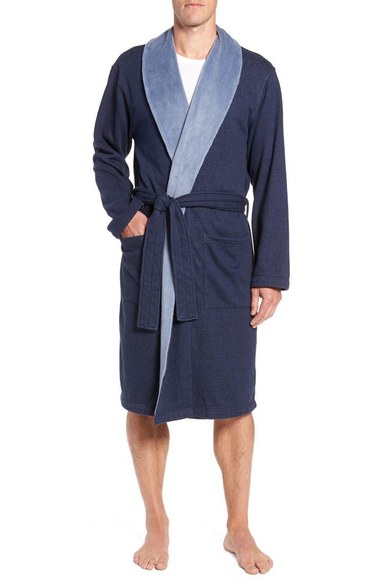 UGG<SUP>®</SUP> Robinson Robe, Main, color, NAVY HEATHER