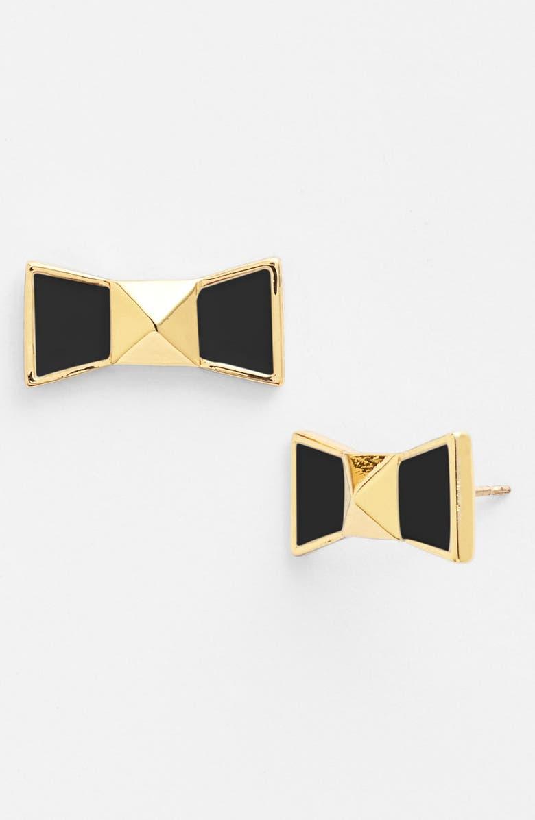 KATE SPADE NEW YORK 'locked in' bow stud earrings, Main, color, 001